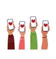 hands holding smartphones people interacting vector image