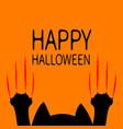 happy halloween card black cat paw print head vector image vector image