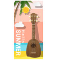 hello summer background with ukulele vector image vector image