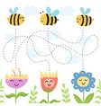 help bees find path to flowers maze game vector image