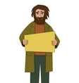 Homeless man with cardboard vector image