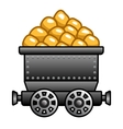 Iron mine cart with gold vector image vector image