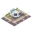 isometric hospital building with ambulance vector image vector image