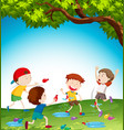 kids playing with water balloon vector image vector image
