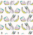 memphis tropical fruit pattern pinapples bananas vector image