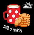 milk and cookies icon chocolate cookies vector image vector image