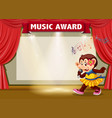 monkey singing on stage banner vector image vector image