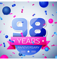 Ninety eight years anniversary celebration on grey vector image vector image