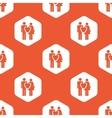 Orange hexagon love couple pattern vector image vector image
