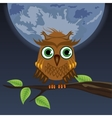 owl sitting on a tree in the moon vector image