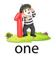 pantomime boy with the 1 balloon number and text vector image