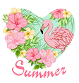Pink tropical flowers and flamingo vector image vector image