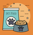 plastic dish with food and bag care mascot vector image vector image