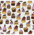 seamless pattern of hand drawn cakes vector image vector image