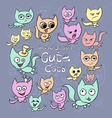 Set of cute cartoon cats different colors and vector image vector image