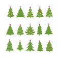 set of different fir trees on white background vector image vector image