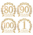 set of golden anniversary seals eightieth vector image vector image
