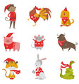 set of the following colors every year monkey vector image vector image
