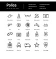 simple set of line police icons vector image vector image