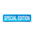 Special edition blue 3d realistic square isolated vector image
