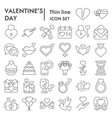 valentines day thin line icon set love symbols vector image vector image