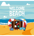welcome beach card vector image