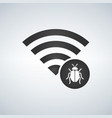 wifi connection signal icon with virus or bug vector image vector image