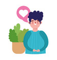young man talking with potted plant isolated vector image