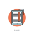 Flat lined e-book icon vector image
