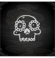 Hand Drawn Skull with Floral Element vector image