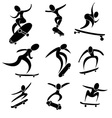 Set of skateboard icon in extreme action vector image