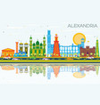 alexandria egypt city skyline with color vector image vector image