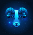 aries zodiac sign blue star horoscope symbol vector image