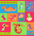 baby dragons psattern cartoon vector image