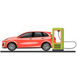 banner with electric car and charging station vector image vector image