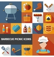 Barbecue picnic flat icons set vector image vector image