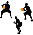 basketball player silhouette in hold pose vector image vector image