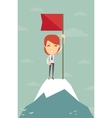 Businesswoman with flag on a Mountain peak vector image vector image