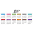 calendar for 2021 year week starts monday vector image vector image