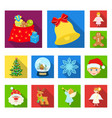 christmas attributes and accessories flat icons in vector image