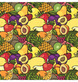Colorful hand drawn seamless pattern with fruits vector image vector image