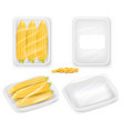 corn packaging tray mockup set realistic vector image