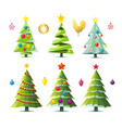 design elements of stylized fir trees in several vector image