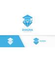 diamond and graduate hat logo combination vector image