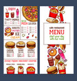fast food restaurant menu template vector image vector image