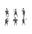 funny male policeman cartoon characters set vector image vector image