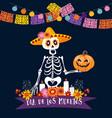 halloween dia de los muertos greeting card vector image vector image