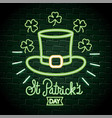 hat with clovers neon label to st patrick event vector image vector image