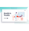 health care appointment website landing page man vector image vector image