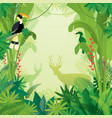 hornbill and deer in tropical jungle background vector image